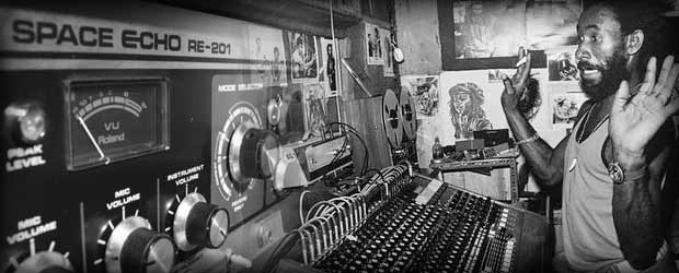 Lee Scratch Perry at Black Ark Studios with Roland RE-201 Space Echo