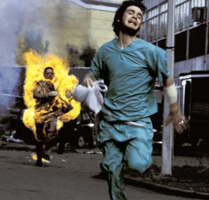 Check out the visceral fuel station explosion in modern classic 28 Days Later (that leads to this scene with flaming zombies!) for an example of pure visceral audio violence. Not to mention the excellently done noises of the zombies themselves...