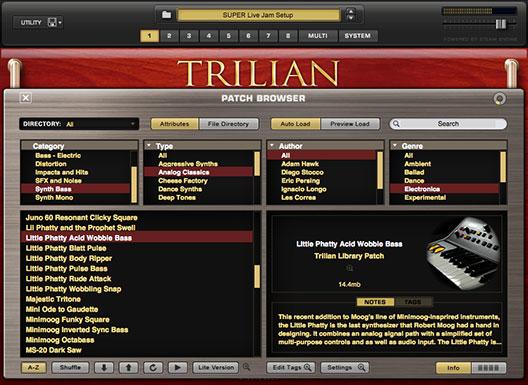 Spectrasonics Trilian preset browser view