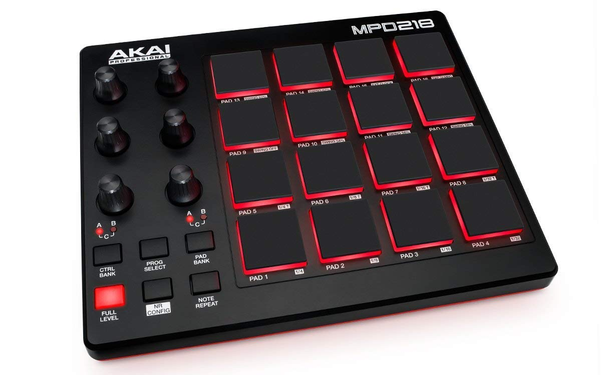 akai professional mpd218 midi drum pad controller with software down. Black Bedroom Furniture Sets. Home Design Ideas